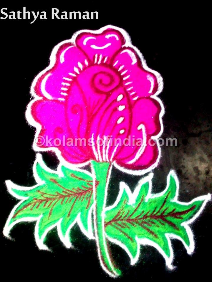 Rose Flower Rangoli, Muggulu