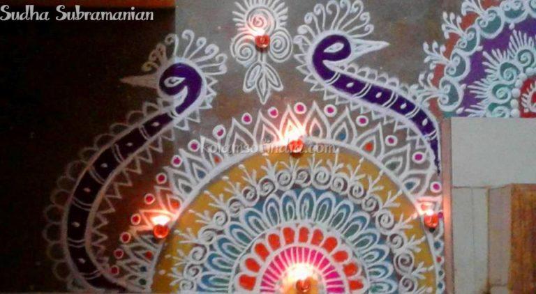 Colour Peacock Rangoli, Mayil Kolam, Shasti Kolam