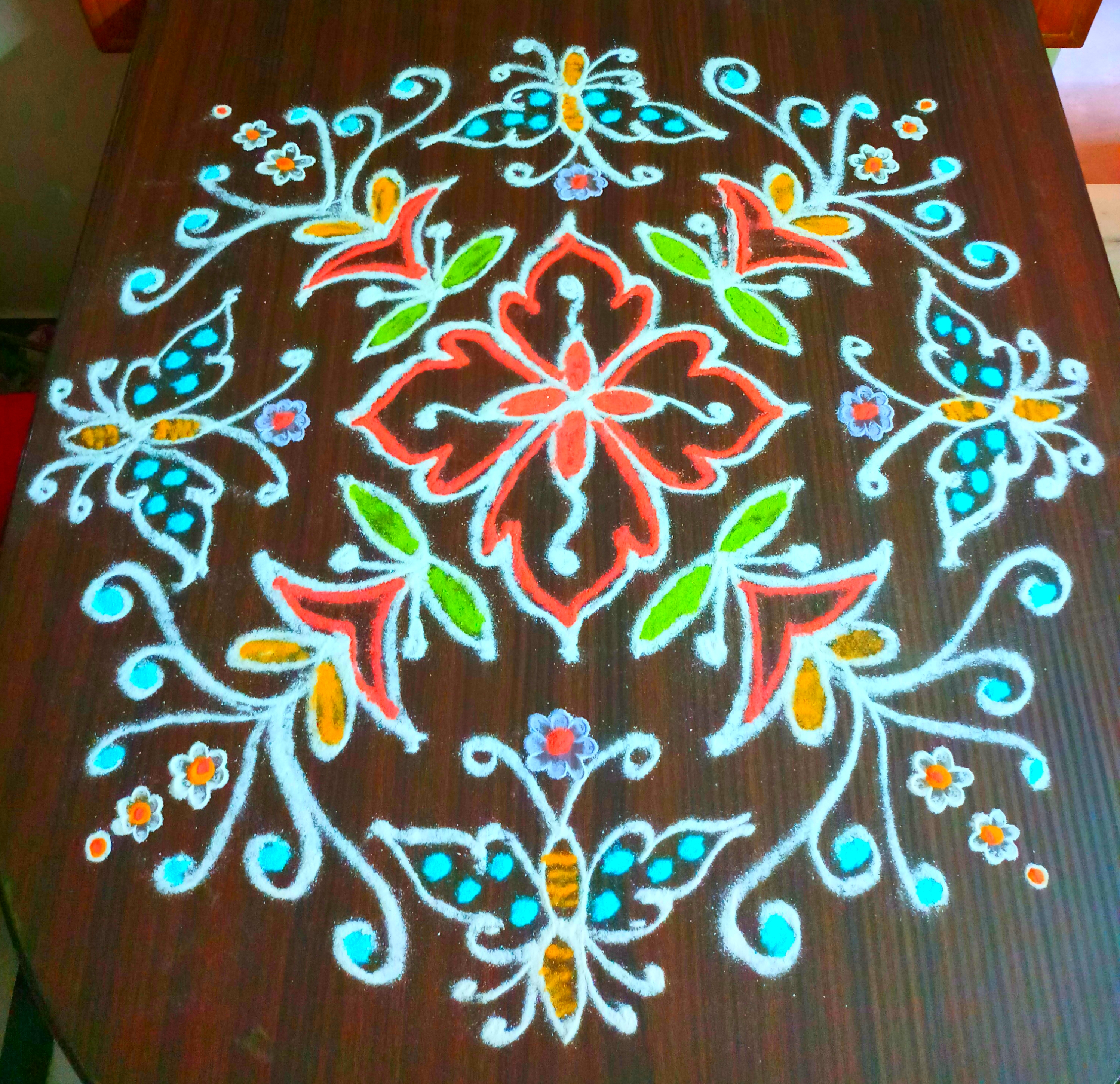 Butterfly kolam with 15 dots
