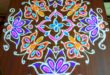 Flower and Butterfly kolam || 15 dots colour kolam