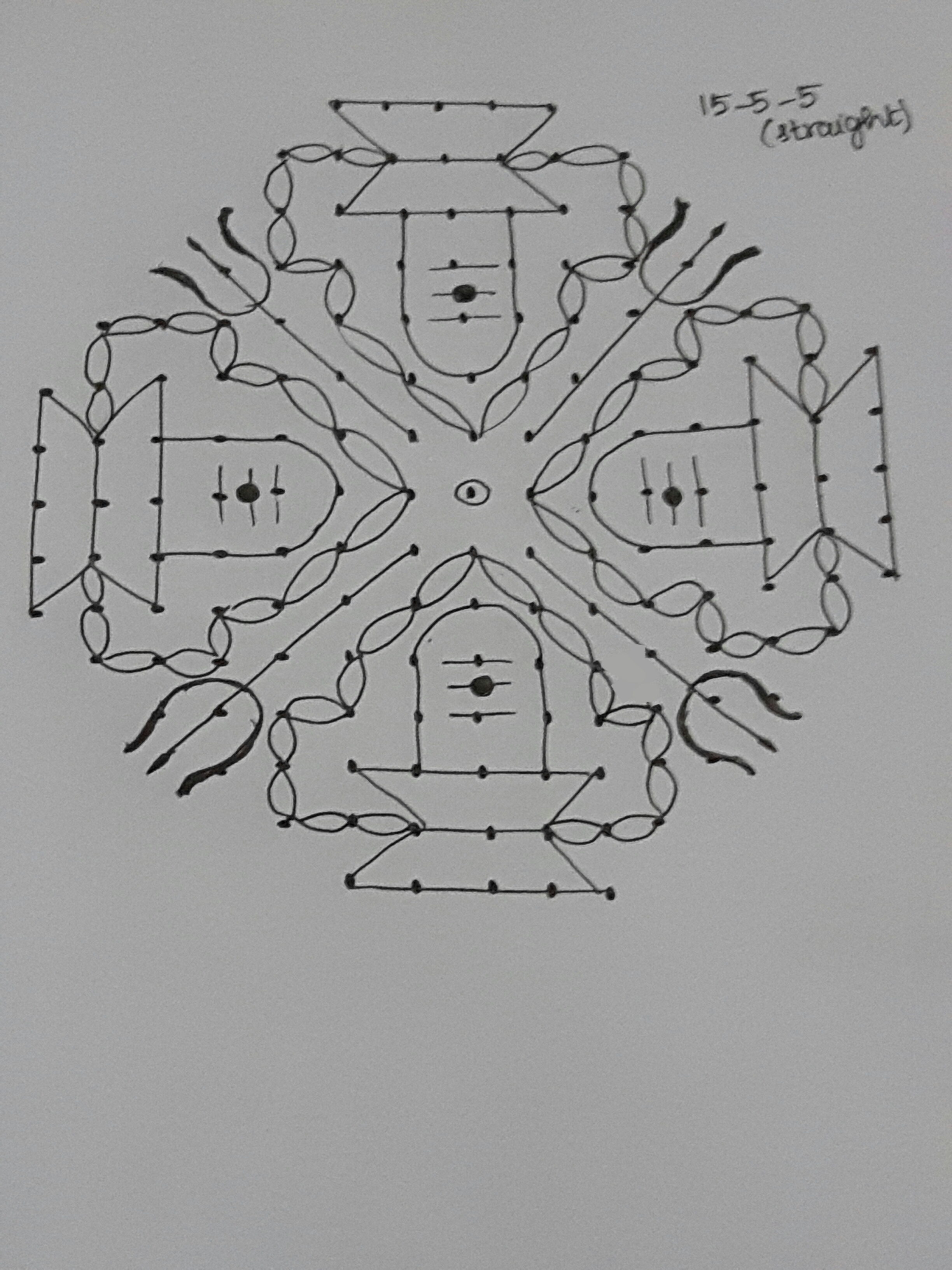 Pani Shiva Lingam kolam in 15 dots