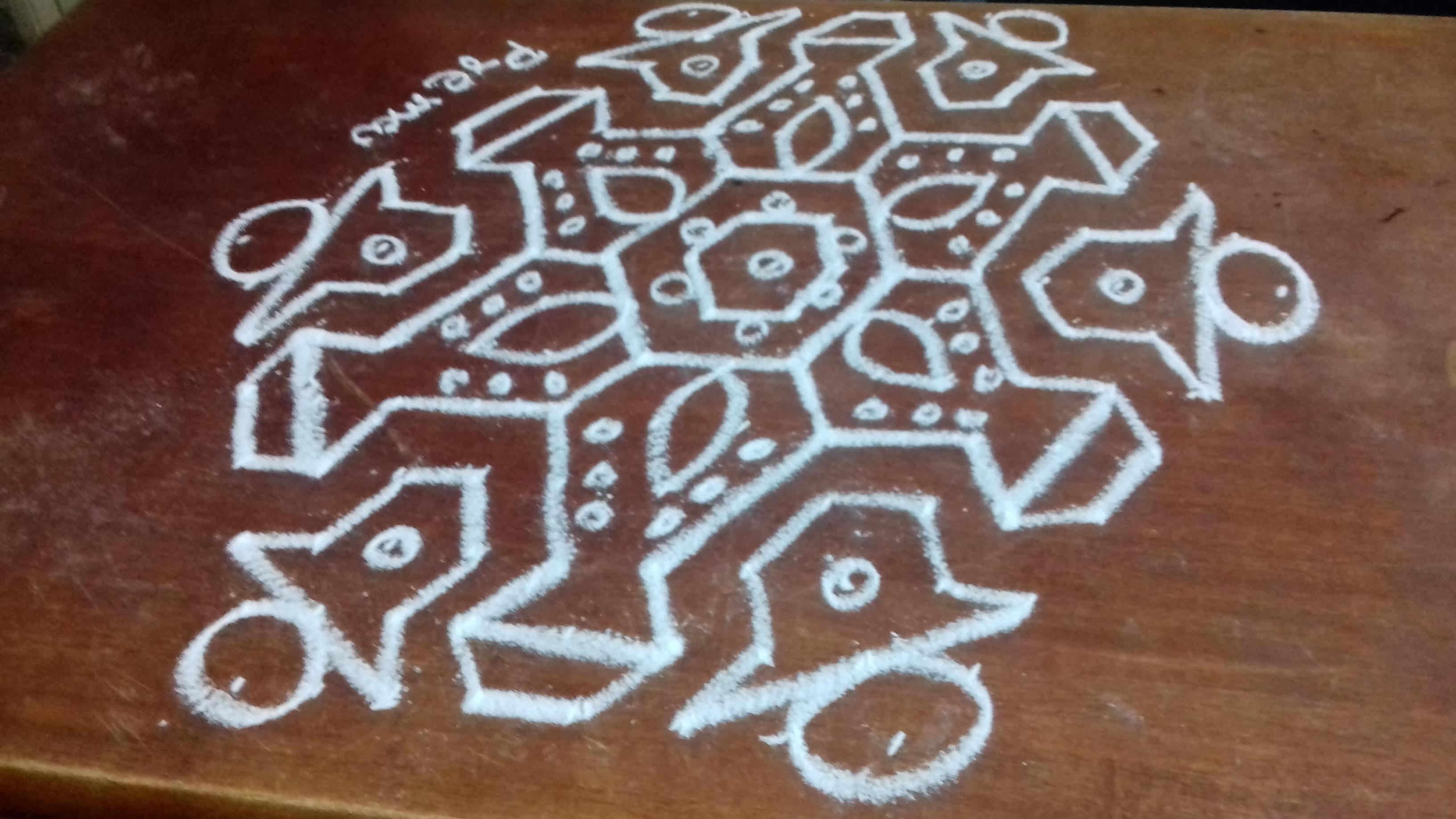 Bell Kolam    design kolam with 15 dots