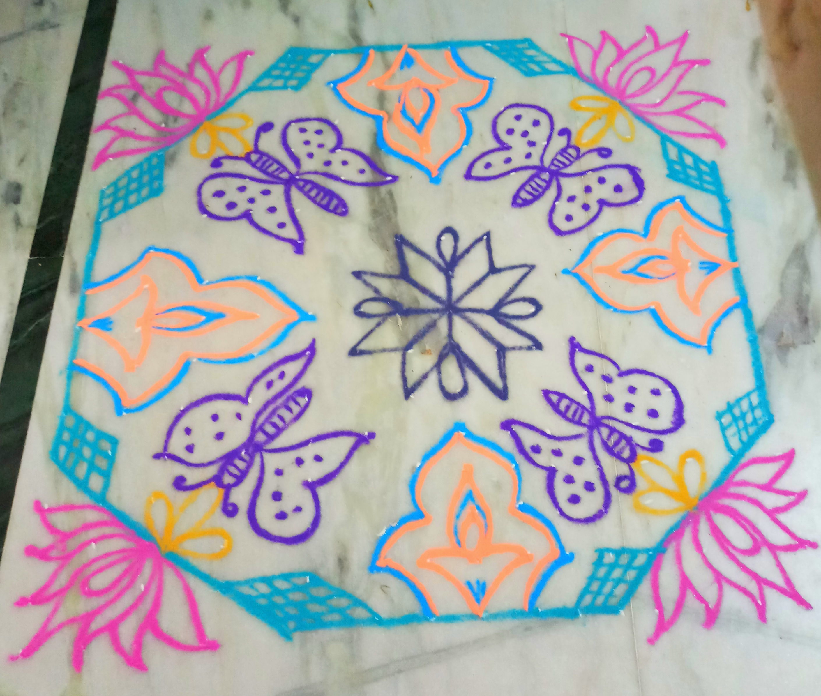Butterfly and lotus kolam with 15 dots || Contest Kolam