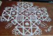 line kolam with15 dots