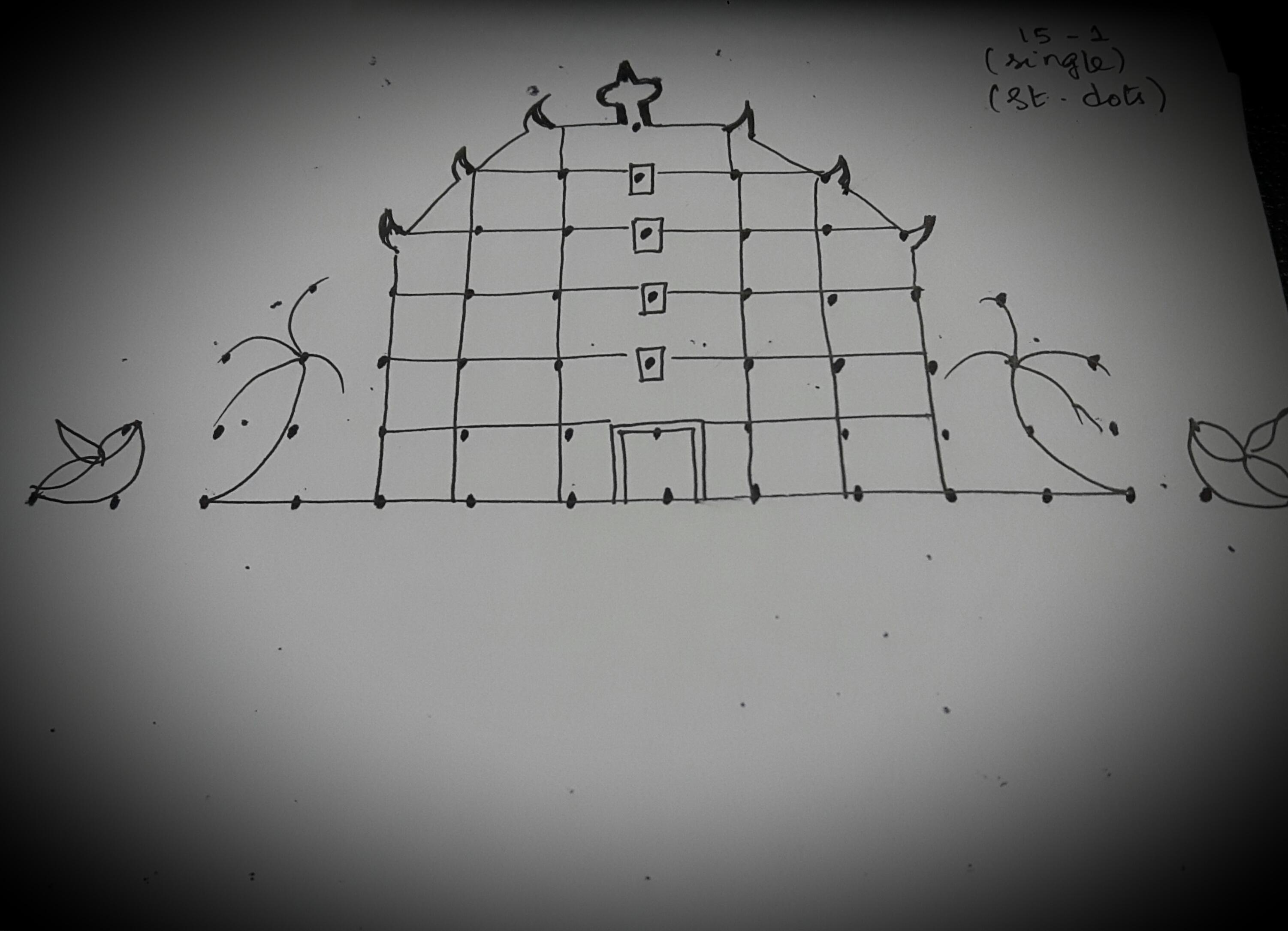 Temple Kolam in 15 dots    Contest Kolam