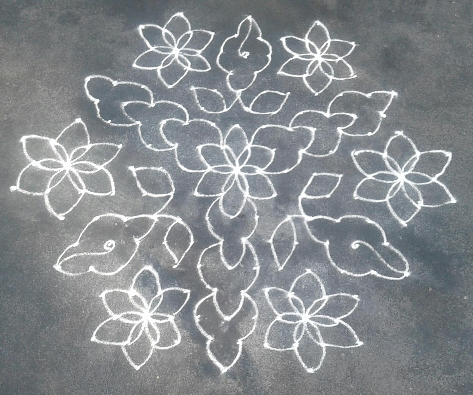 15 dots flowers kolam for contest || 15 dots Kolam