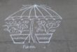 Umbrella kolam with 15 dots