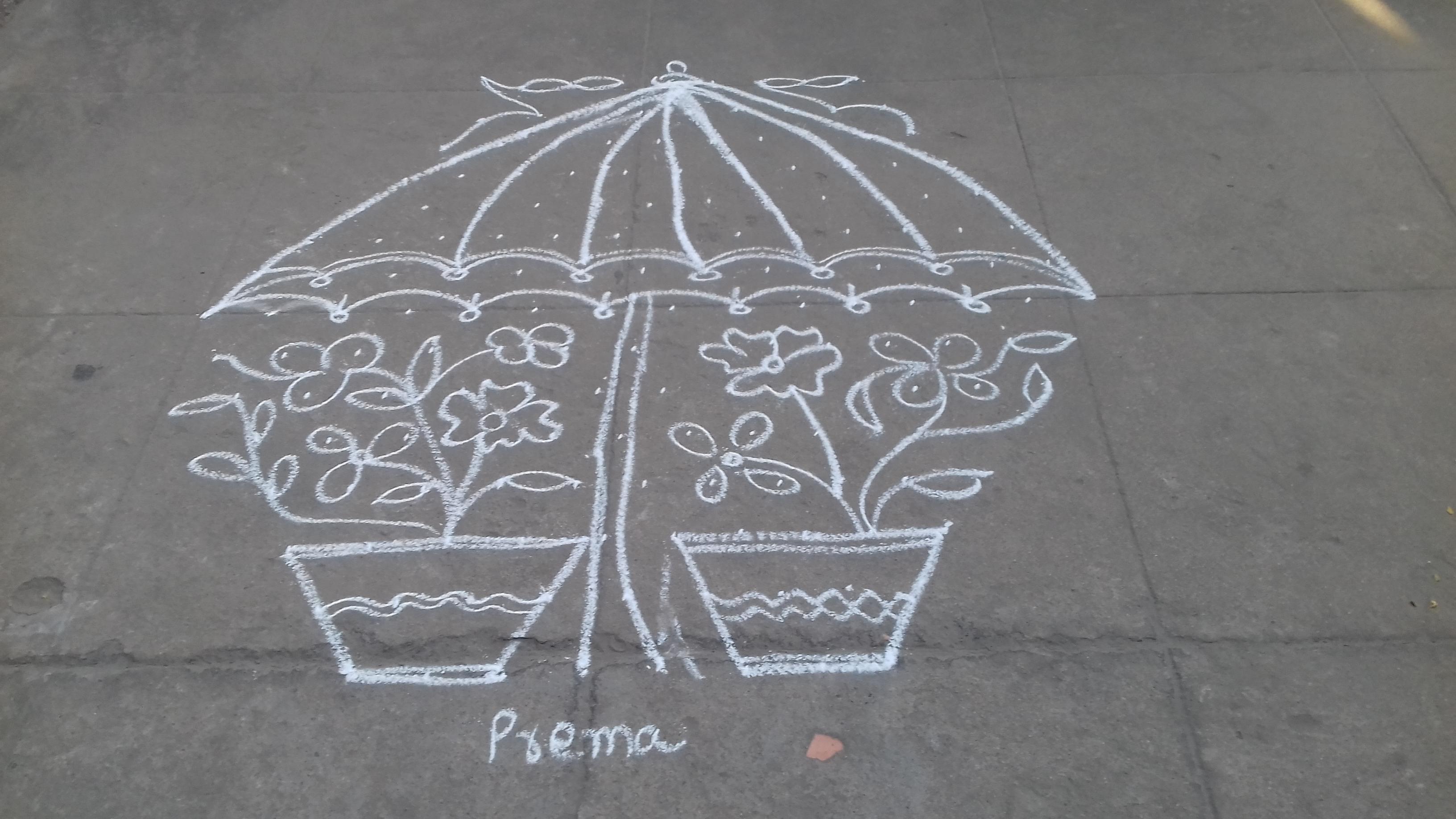 Umbrella kolam  with 15 dots