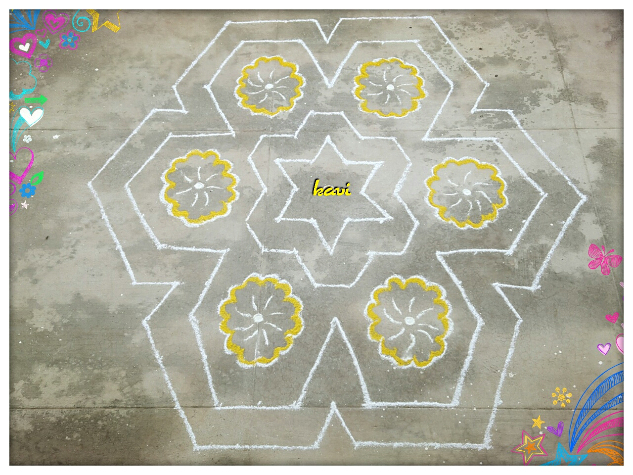 15 dots kolam, Big Kolam, colour kolam, MSimple flower kolam in 15 dots
