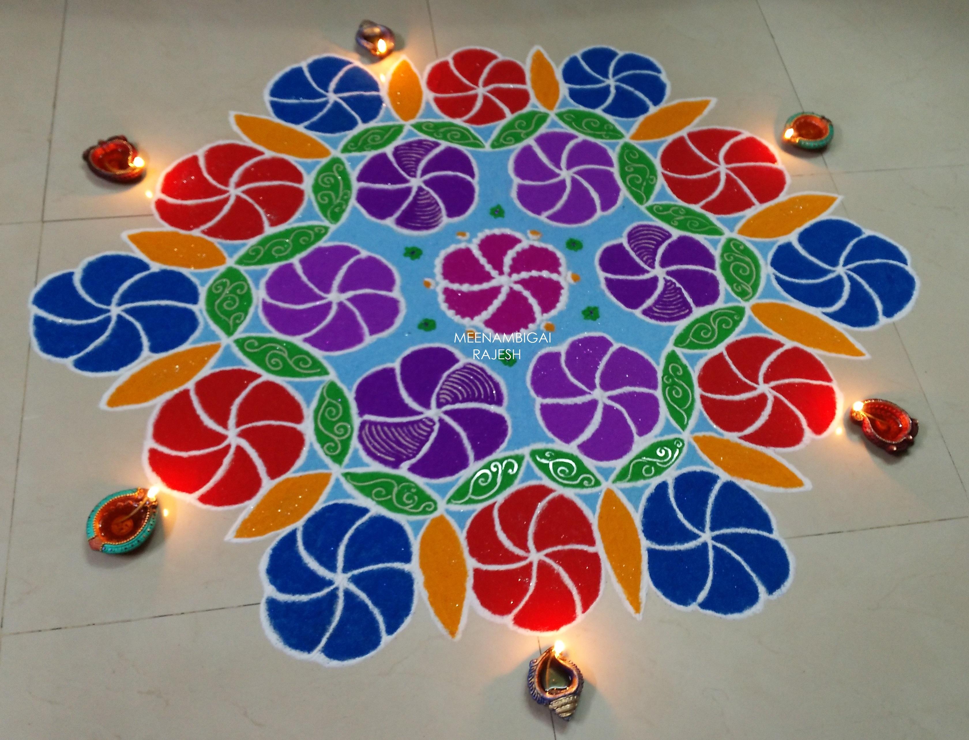 Colour balls design kOlam || 15 dots Contest kolam