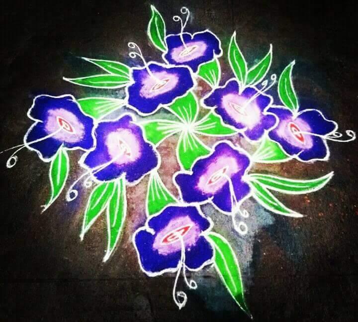 Shanku poo kolam || 13 dots Flower kolam, blue