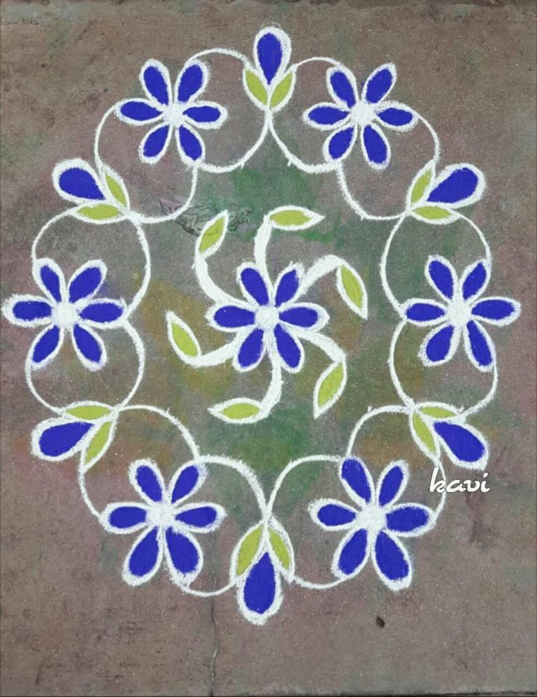 11-6 interlaced dots simple flower kolam