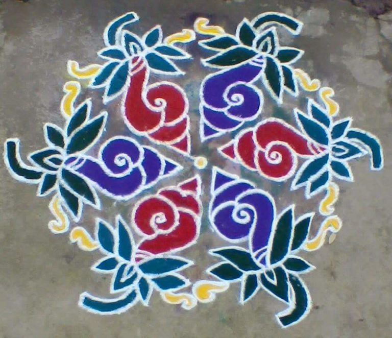 Sangu with lotus kolam || Counch and Lotus || 15 dots9
