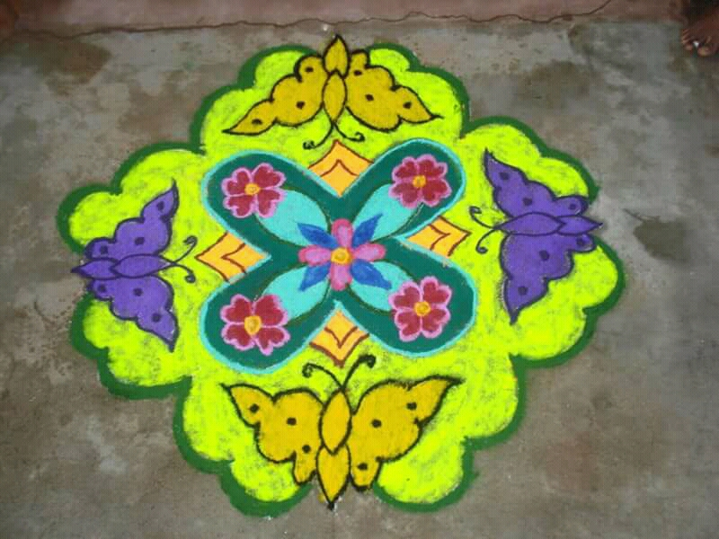 Butterfly Kolam || 15 x15 dots Colour kolam