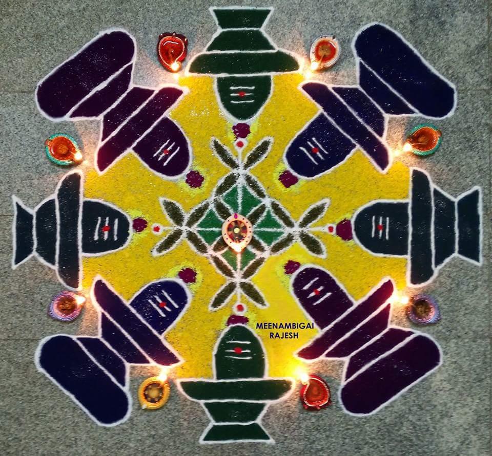 shivrathiri rangoli, shivarathiri kolam