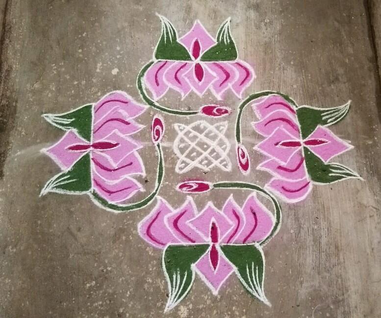 Lotus flower kolam with 15 dots