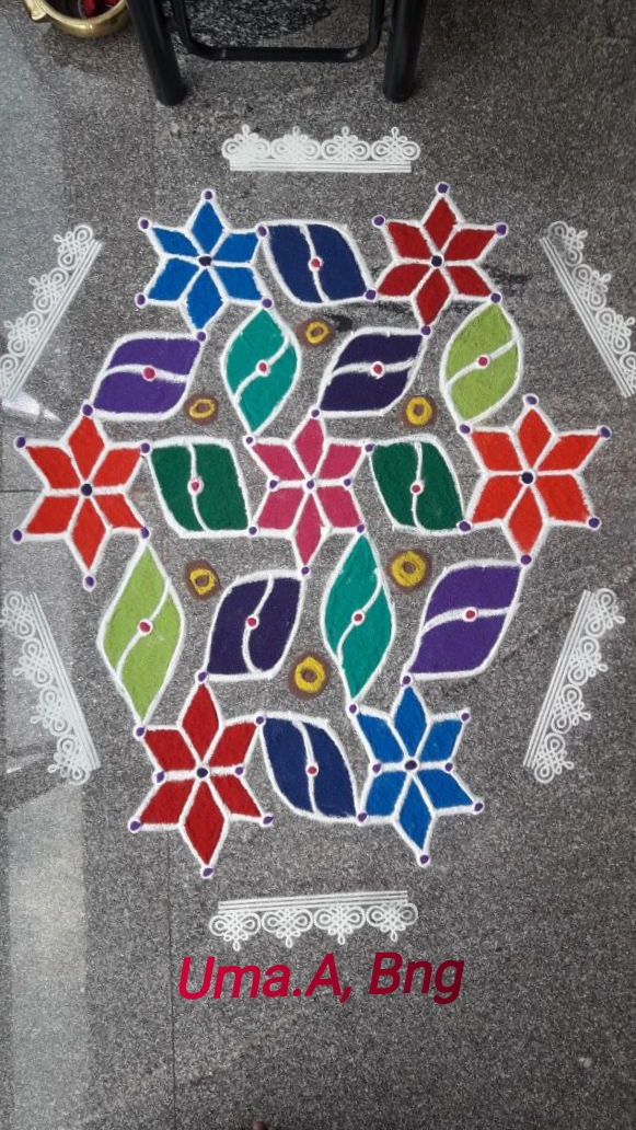 15-8 interlaced Flower dotted kolam