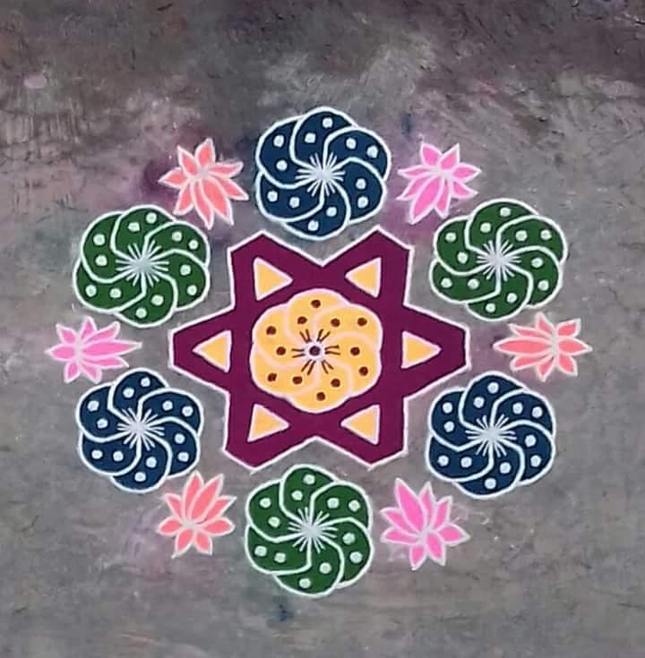 Star kolam with 15 dots || Contest Kolam