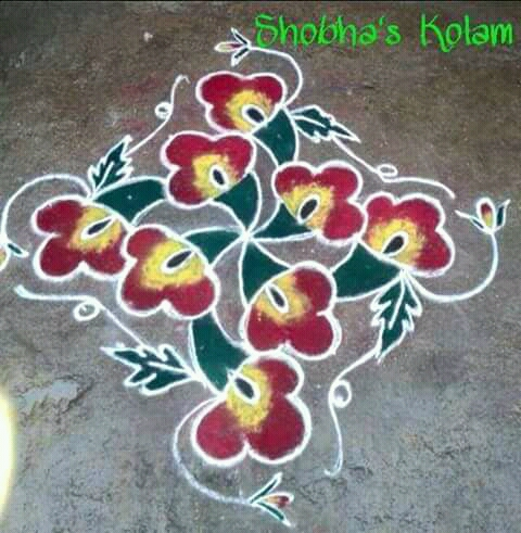 Flower kolam with 13 dots