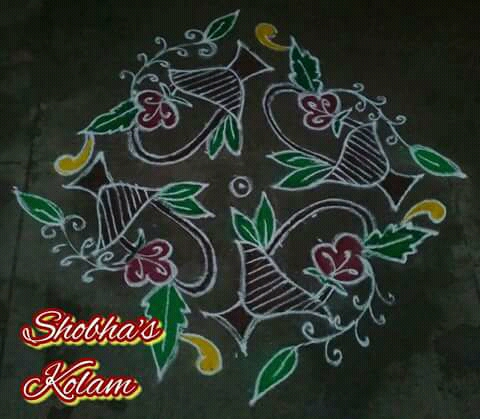 Flower basket kolam with 13 dots