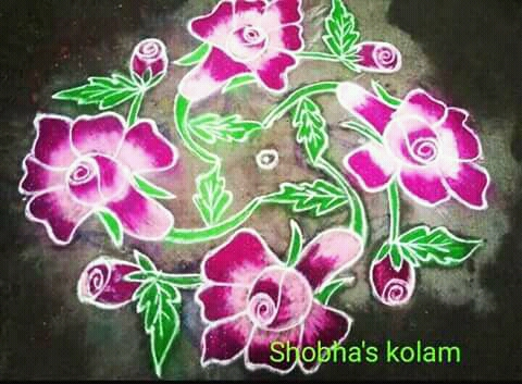 Beautiful pink rose flower kolam || 11 dots Flower kolam