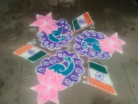 Tricolour flag kolam, independence day kolam, republic day kolam