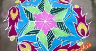 Flower kolam || 11 dots colour kolam