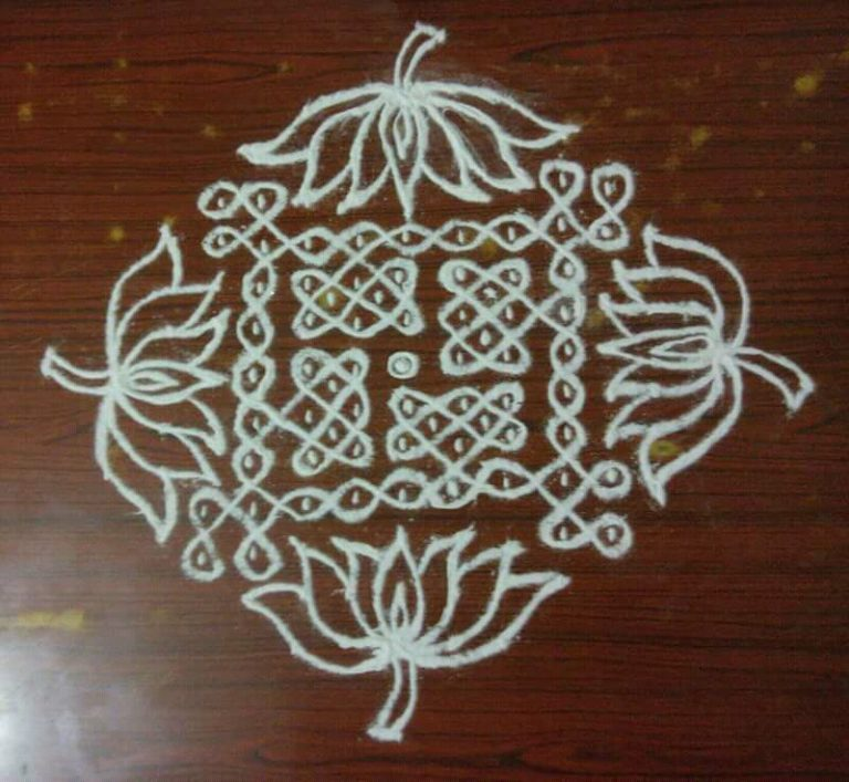Sikku kolam with 15-1 dots