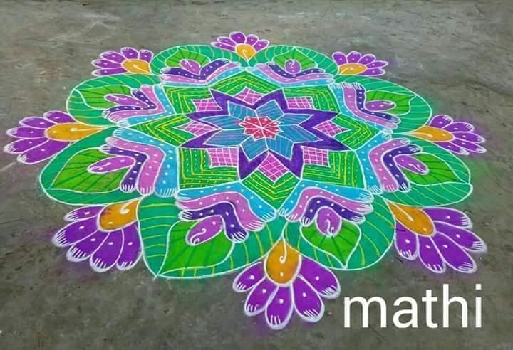 Freehand kolam || Colour Kolam