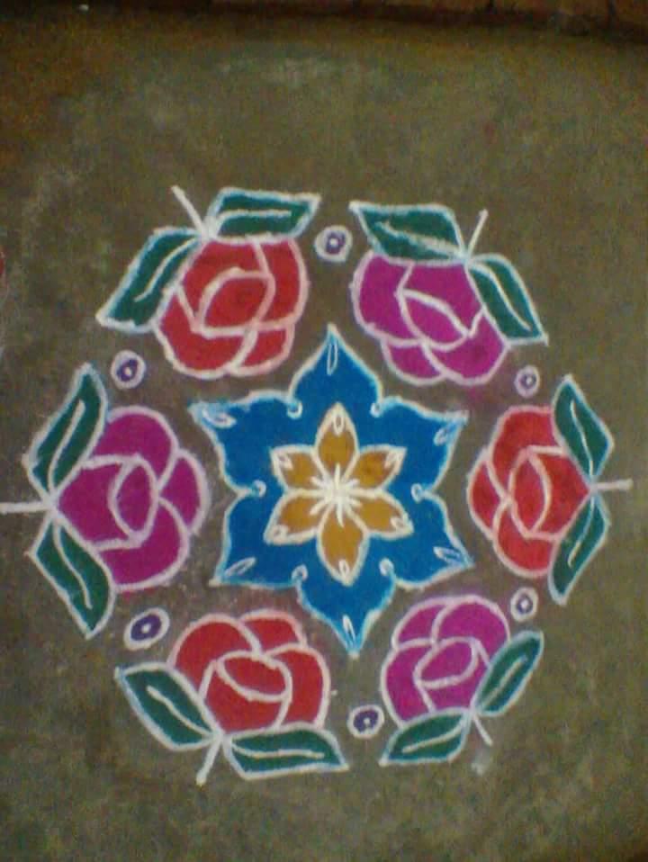 Roses kolam || 15 dots Contest Kolam