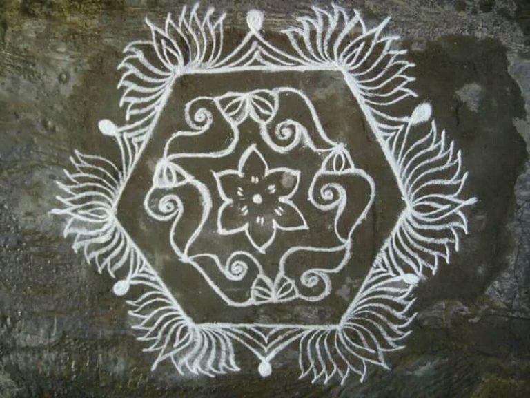Sangu, thamarai kolam || 15 dots kolam with conch and lotus