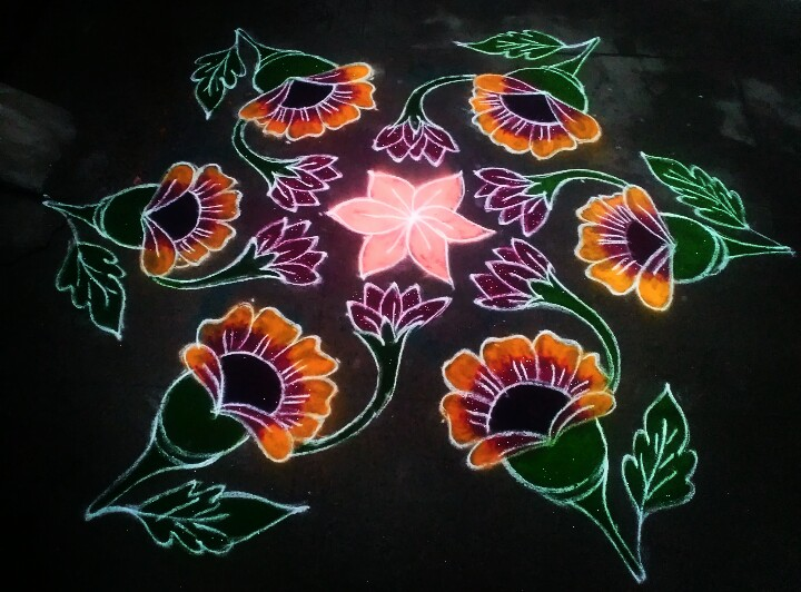 Daisy flower kolam || 11 dots Colour kolam