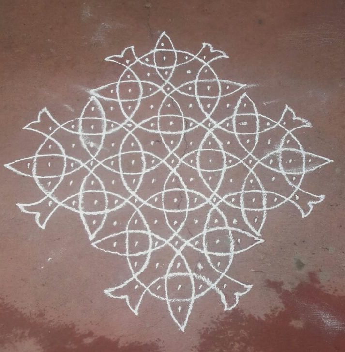 Different Line kolam with 15 dots
