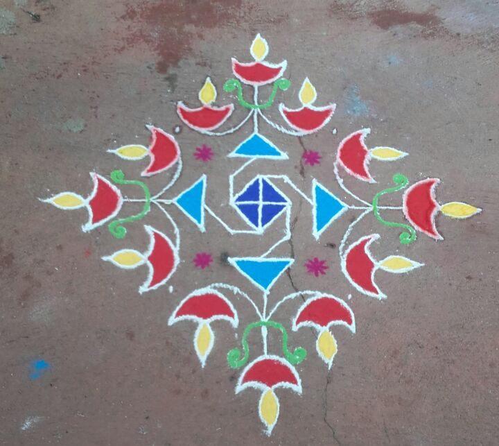 15 dots Karthigai dheepam kolam || colour kolam