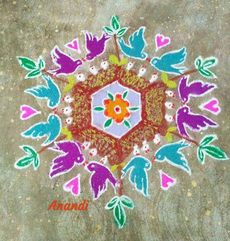 15 dots Birds Kolam || Colour Kolam || Lovable family