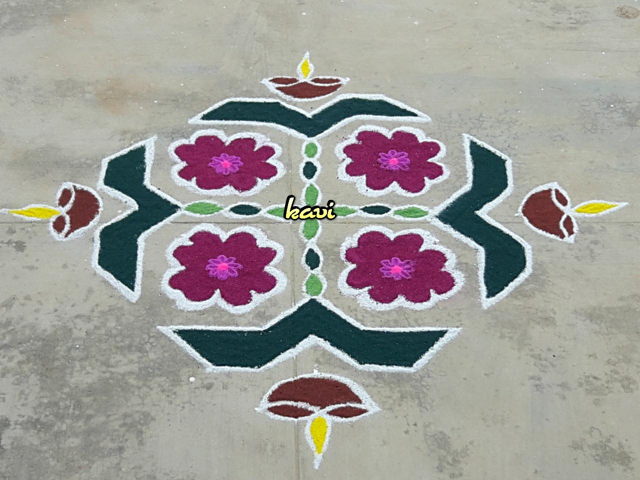 Deepam Kolam with 15 dots    Lamp , Diya Rangoli