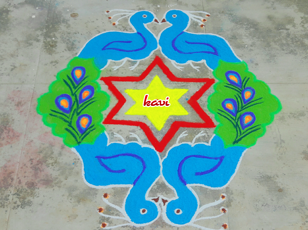 Colourful Peacock kolam  with 15 dots