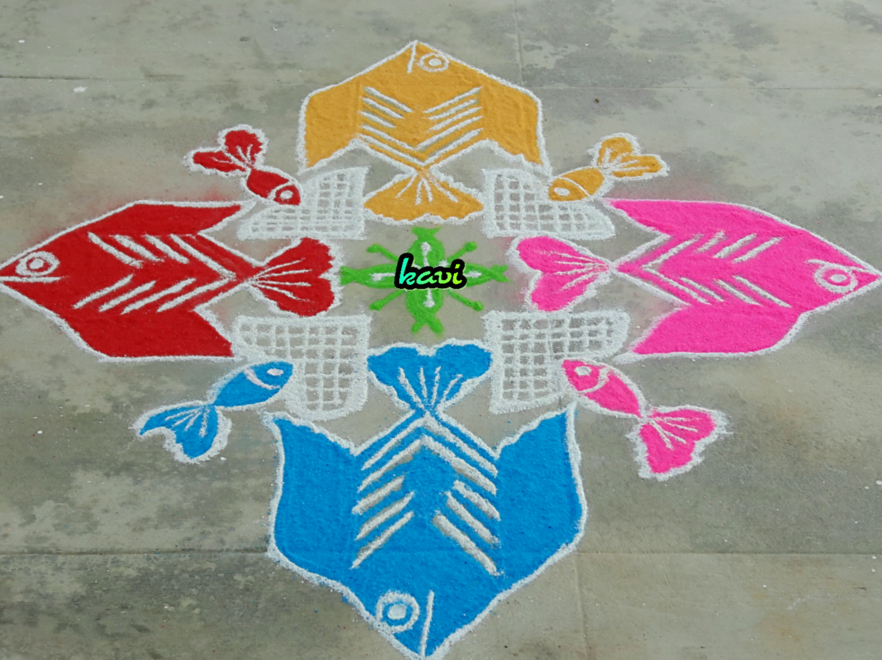 Colour Fish kolam with 15 dots