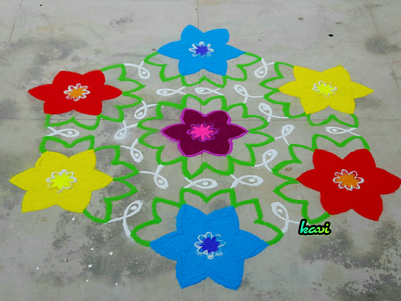 Flowers kolam with 15 dots || Colour Kolam