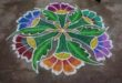 Flower kolam || Colour kolam with 15 dots