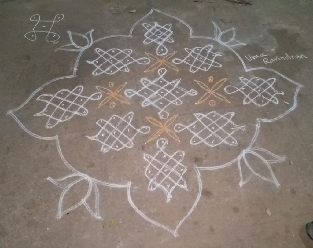 Sikku kolam with 15 dots    Design with curved lines
