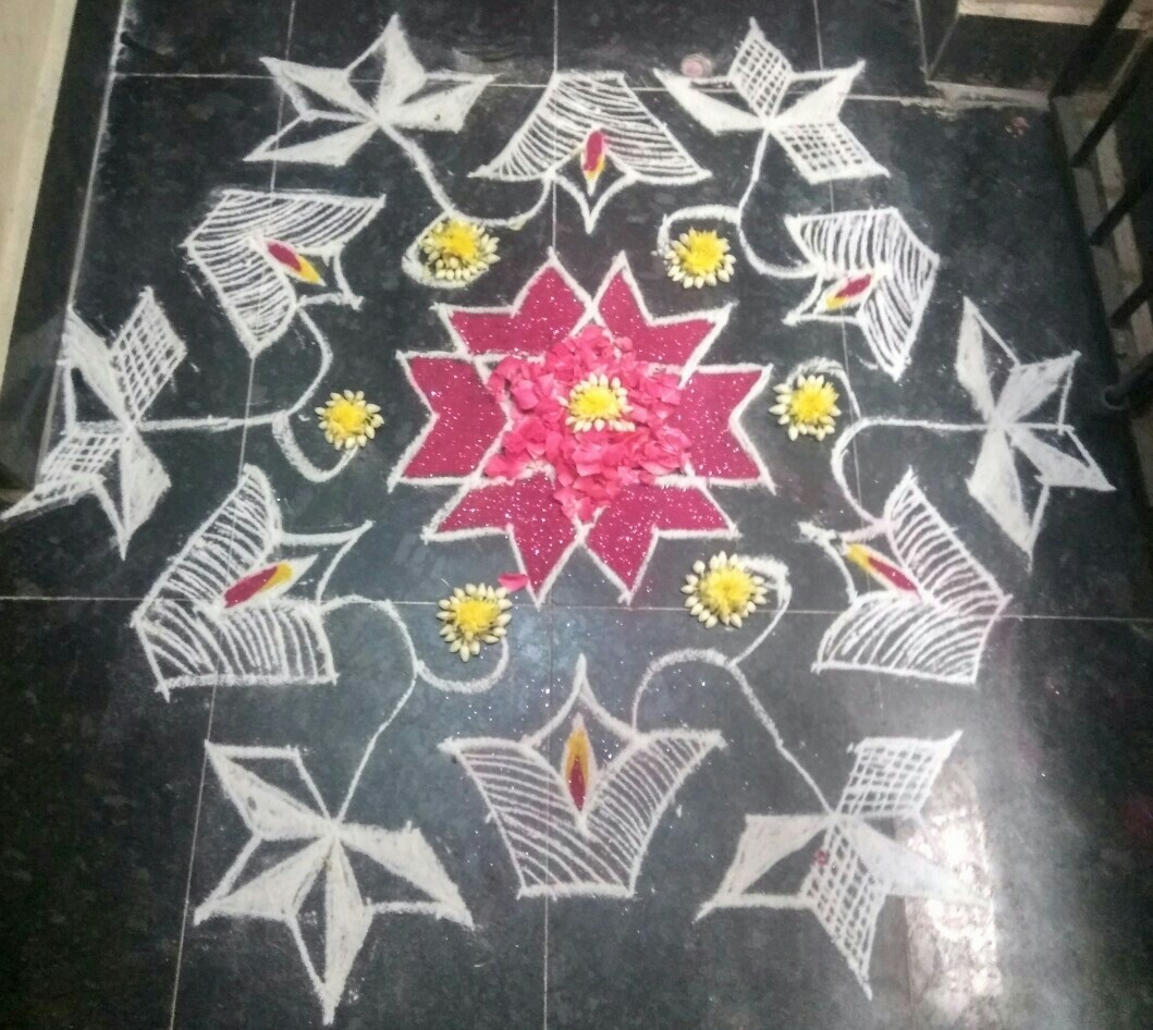 Flower and diya kolam || 15 dots Contest Kolam