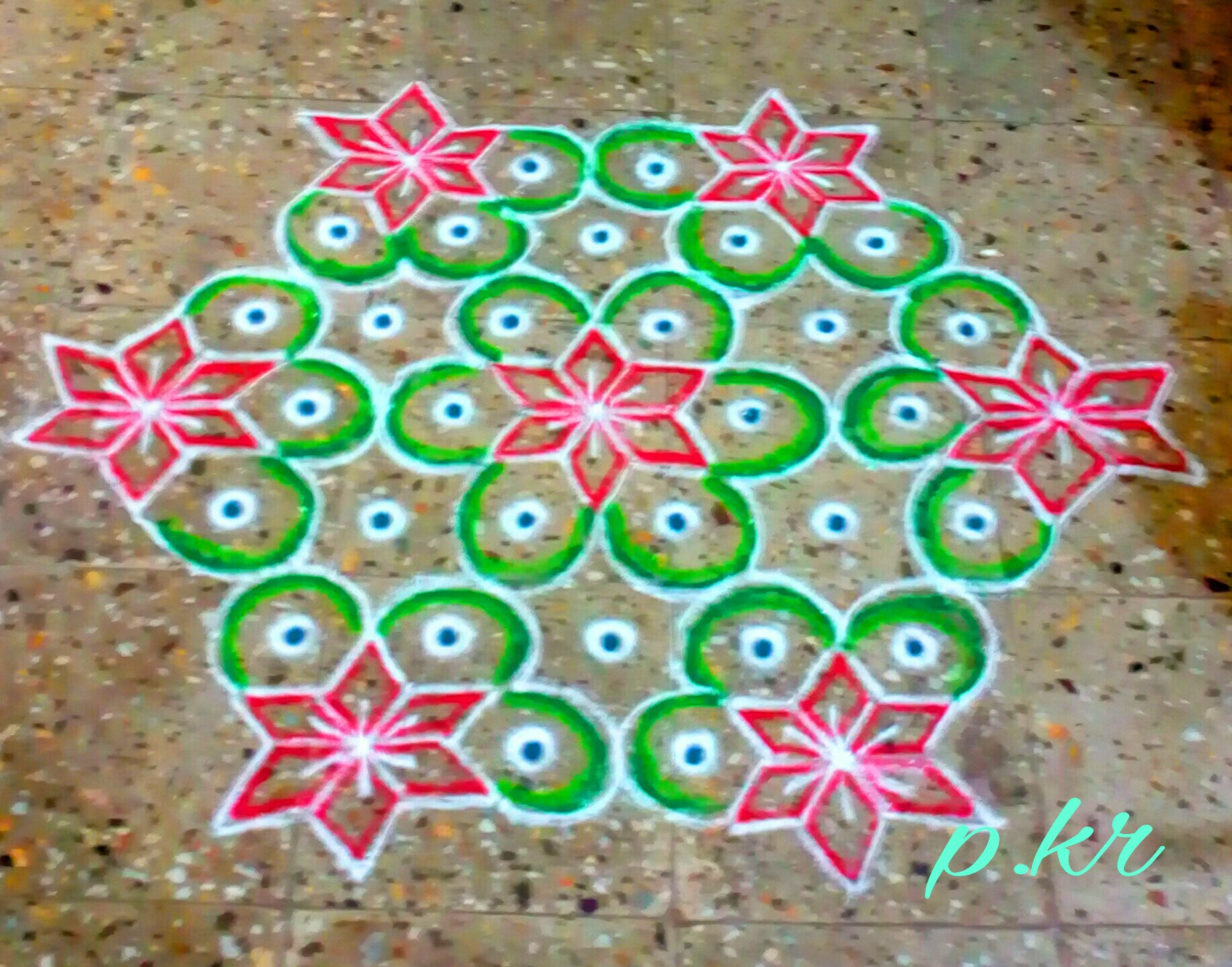 15 dots flower kolam
