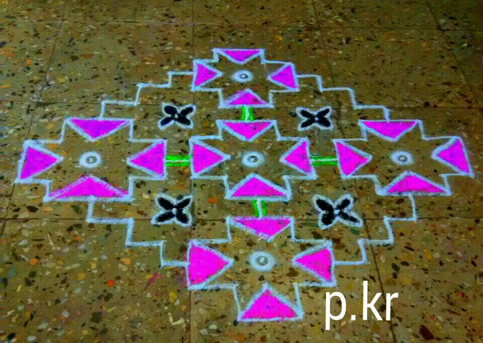 15 dots step kolam