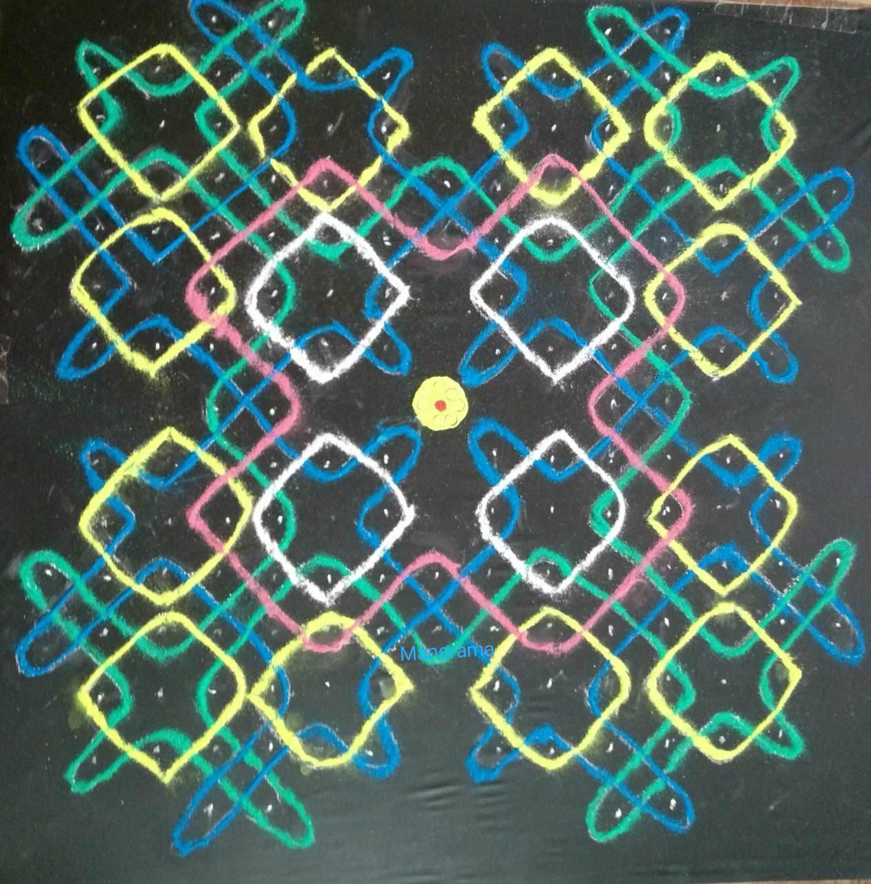 Chikku kolam with15 dots || Contest Kolam