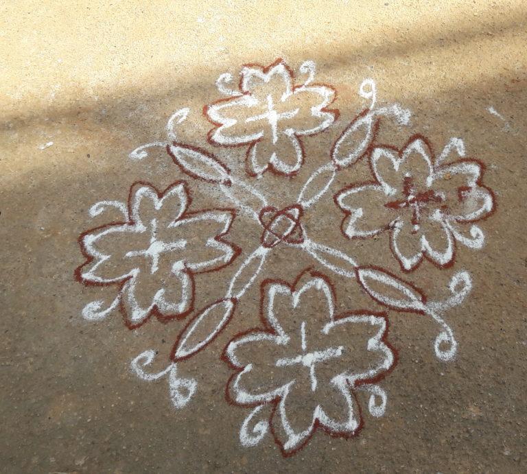 10 dots Flower kolam || Simple and easy flower kolam