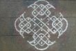 Simple chikku kolam with 7 dots