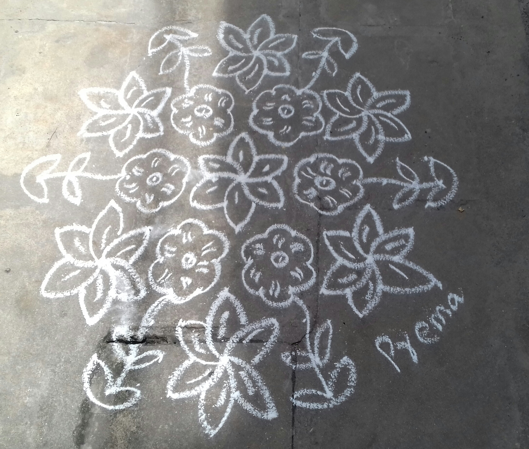 15 dots flower kolam    contest kolam