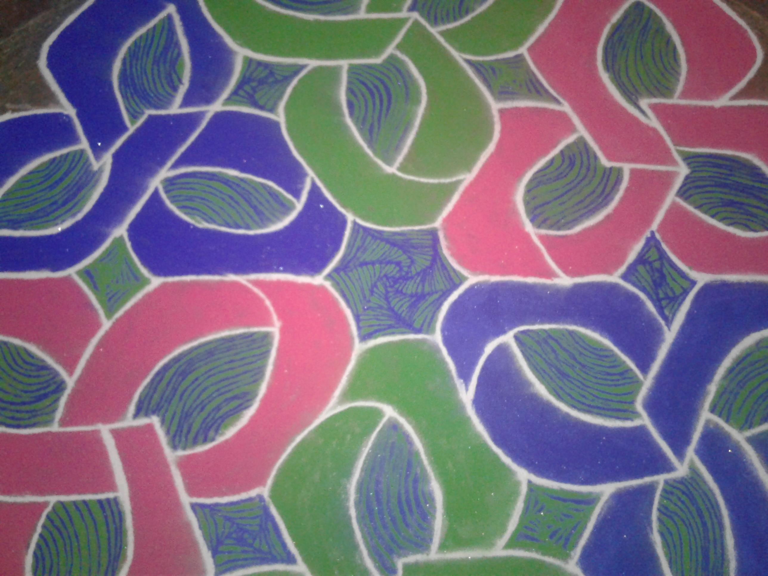 CELTIC KNOT LINE KOLAM || 15 dots contest colour kolam