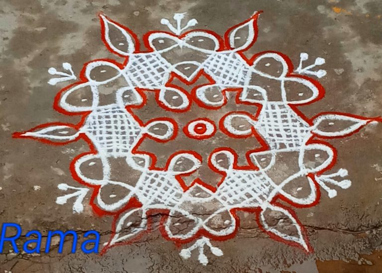 Sikku kolam with 7 dots || beginner level tippudu kolam